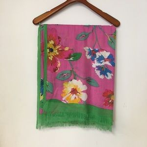 Kate Spade Pink, Green Floral Thin Blanket Scarf